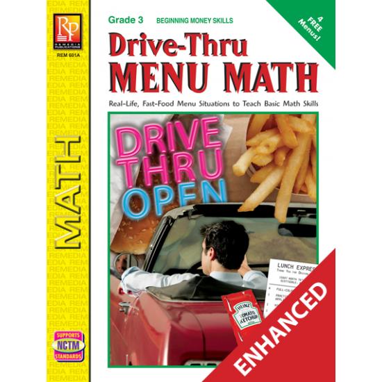 Drive-Thru Menu Math: Beginning Money Skills  Enhanced eBook
